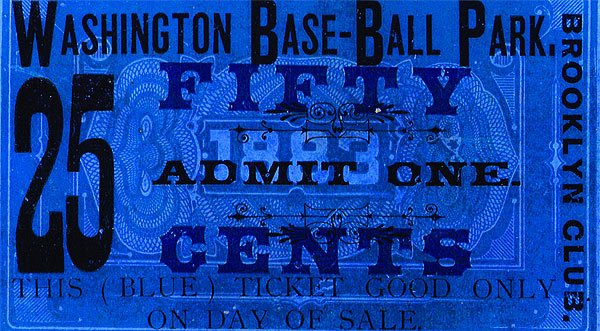 Ticket to early Brooklyn Dodgers game at Washington Base-Ball Park