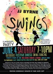 Invitation to JJ Byrne Swings fundraising party