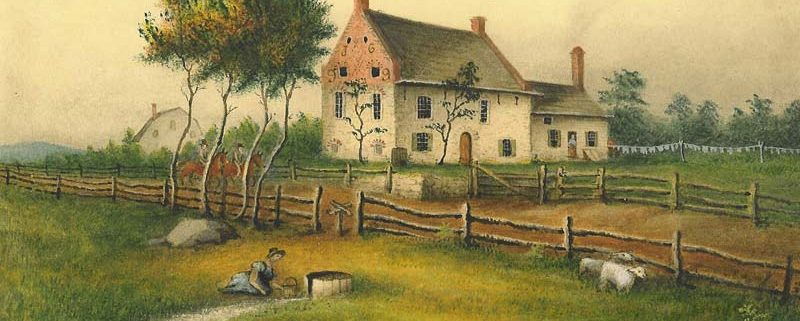 Painting of the Vechte-Cortelyou House known today as the Old Stone House