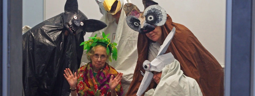 Puppeteer performers dressed as animals