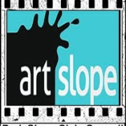 A black, white, and teal logo for Art Slope