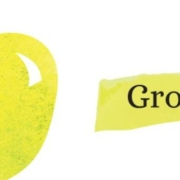 """a green apple on white background with text that reads """"Grow!"""""""
