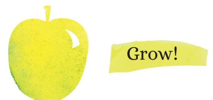 "a green apple on white background with text that reads ""Grow!"""