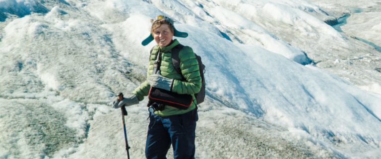 Betsey Biggs hiking on glaciers in Greenland